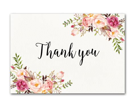 Template That Says Cards Glowers by Ivory Thank You Card Floral Thank You Card Wedding Thank You