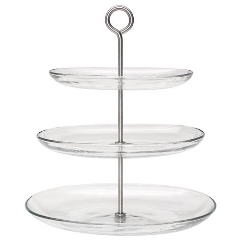 obst etagere kvittera serving stand three tiers clear glass stainless