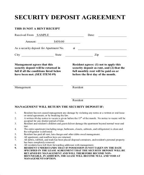 Letter Of Agreement For Security Deposit Sle Deposit Agreement Form 11 Free Documents In Pdf