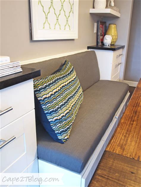 how to build banquette seating with cabinets diy upholstered banquette seat part two ikea cabinets