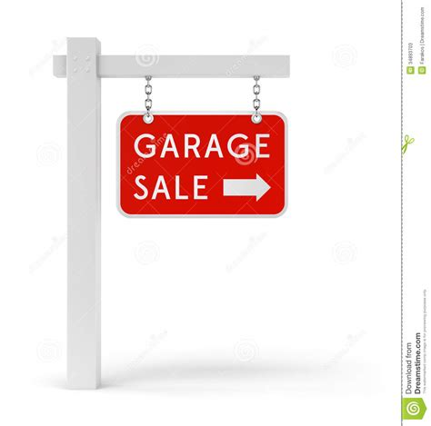 Rectangle House Plans Red Garage Sale Sign Stock Illustration Image Of