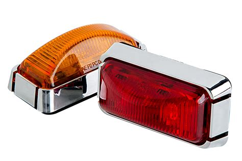 rectangular led truck and trailer lights 3 pc led side clearance lights w chrome base