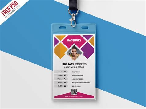 identity card design template creative office id card template psd psd