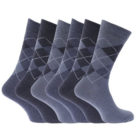 pattern socks mens mens pattern cotton blend argyle socks pack of 6 ebay