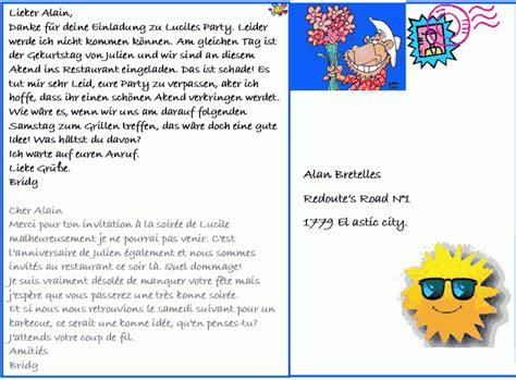 Lettre De Présentation En Allemand Pour Correspondant Dialogue Courrier Pour D 233 Cliner Une Invitation Allemand