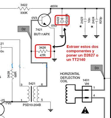 transistor horizontal c5885 tv philips no prende yoreparo