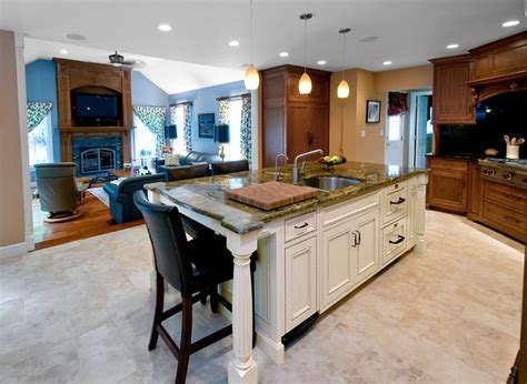 center kitchen island mahogany gourmet kitchen with white glazed center island