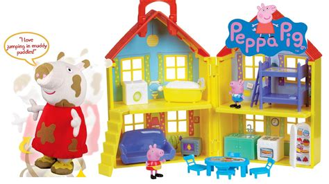 peppa pig house playset peppa pig playset house and peppa pig jump in muddy puddles juguetes de peppa pig