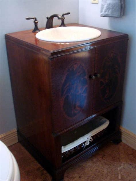 How To Repurpose An Antique Cabinet Into A Vanity How Repurposed Furniture For Bathroom Vanity