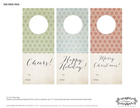 printable gift tags for wine bottles free holiday printables from lisa marie invitations and