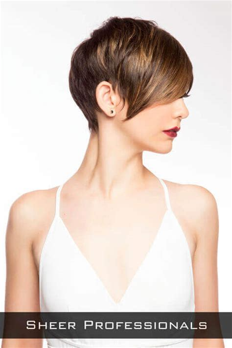 short pixie cut caramel brown hair with caramel highlights switch up your look