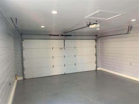 shiplap garage stained floor garage door design garage