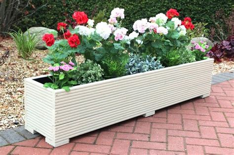 cream xx cm large timber outdoor planter wooden