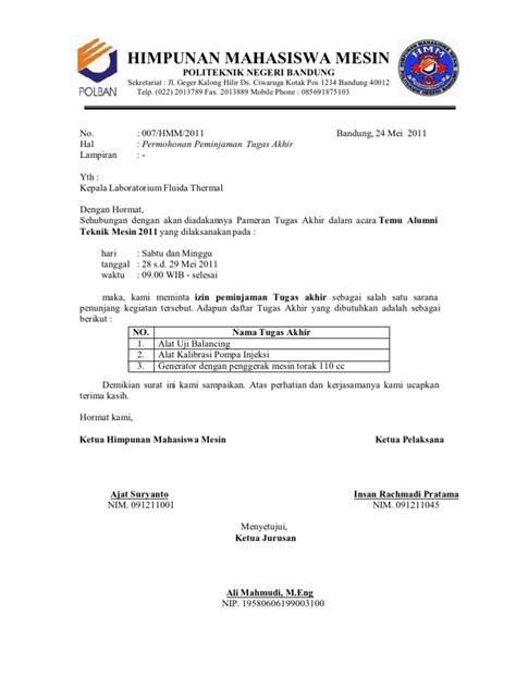 contoh surat peminjaman peralatan