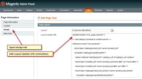 magento layout xml update handle how to put layered navigation on home page or any cms