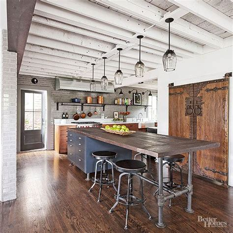 industrial style kitchen island industrial meets rustic in this kitchen kitchen design beams and ceiling