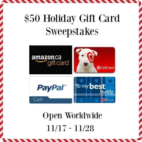 Gift Card Sweepstakes - 50 paypal cash or holiday gift card sweepstakes