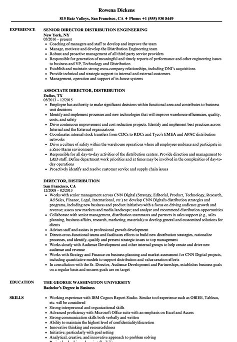 Resume Distribution by Director Distribution Resume Sles Velvet