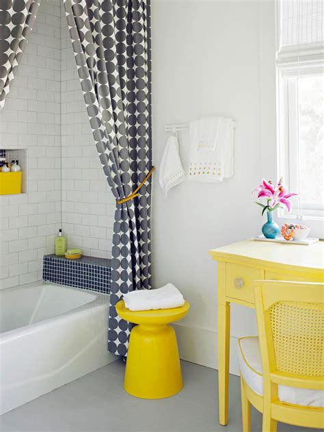 yellow and gray bathroom bhg style spotters
