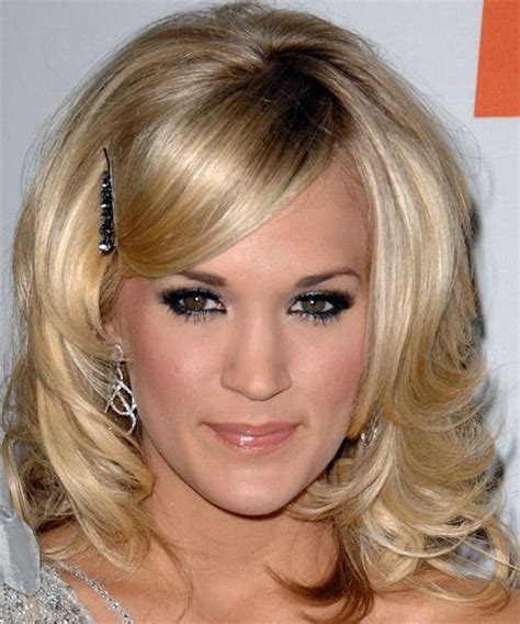 carrie underwood side bangs with barrette formal