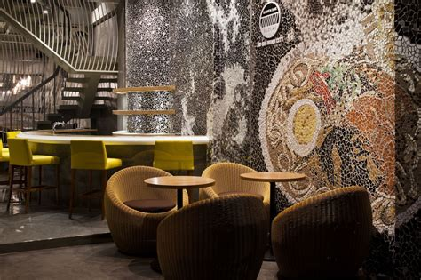 funky wallpaper home decor cool ramen restaurant in vietnam integrating a mosaic wall