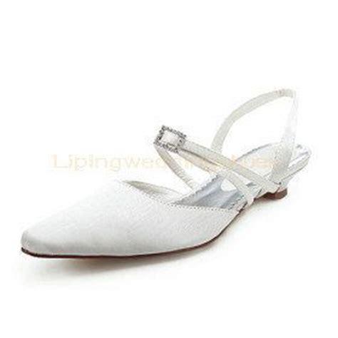 simple flat white satin wedding shoes slingback shoes