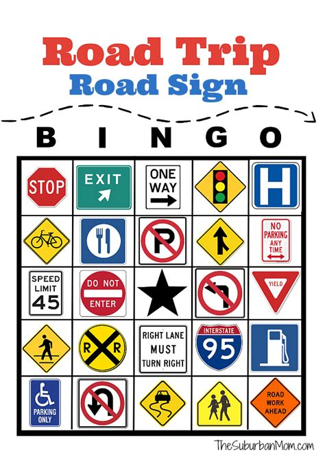 travel bingo card template road trip road sign bingo free printable