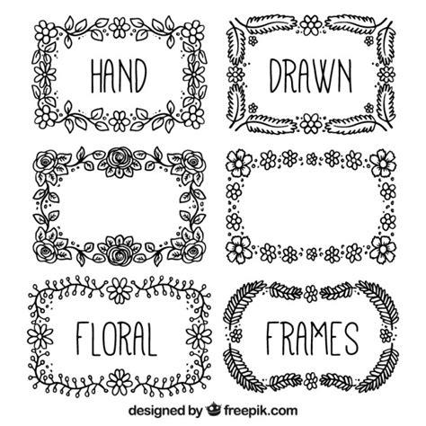cornici disegnate nero disegnati a mano cornici floreali scaricare vettori