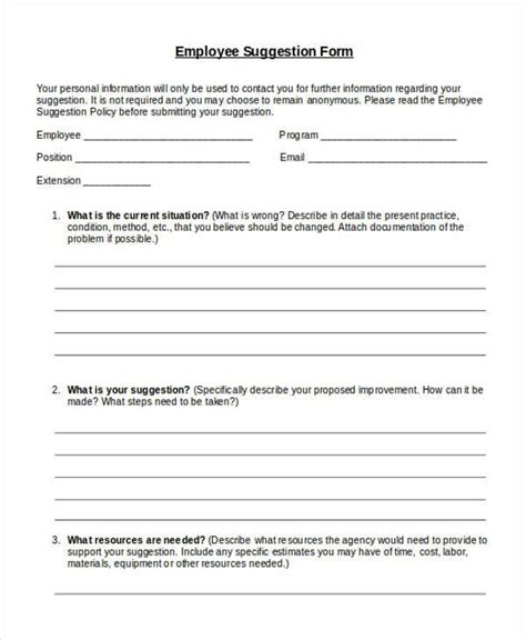 9 employee suggestion forms templates pdf word