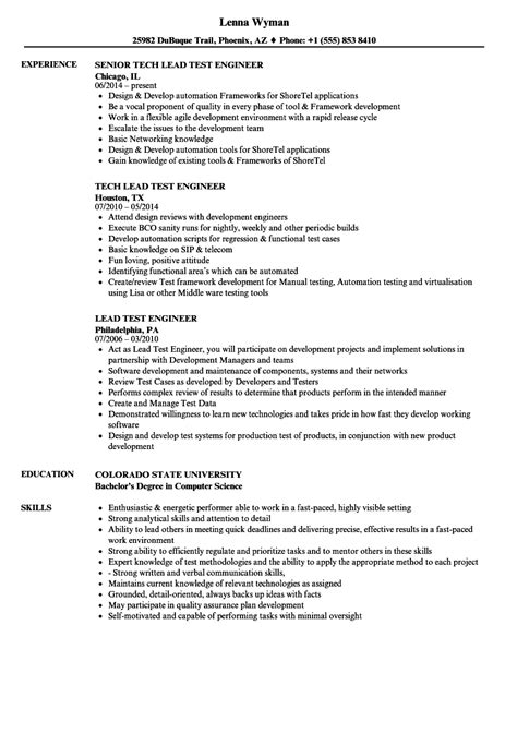 test lead resume format lovely sle resume for automation testing engineer