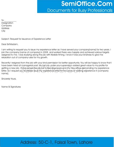 Work Experience Letter Usa Request For Experience Letter From Company