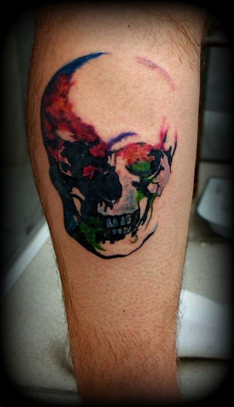 watercolor skull tattoo skull watercolor so cool the skill and