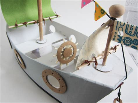 How To Make Paper House Boat - mollymoocrafts cardboard toys diy pirate ship