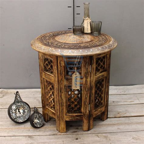 carved end tables medium side table with aluminium inlay indian mango wood