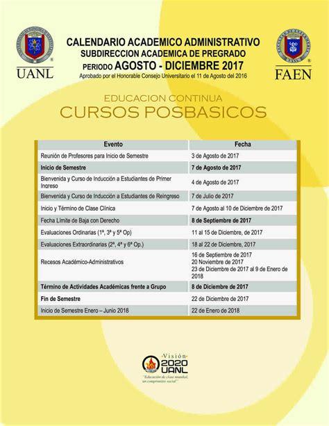 Calendario Uanl Calendarios Facultad De Enfermer 237 A Uanl