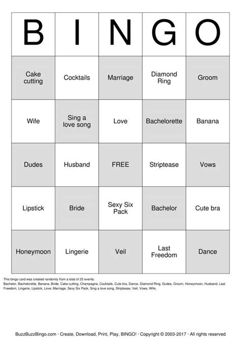 bachelorette bingo template bachelorette bingo cards to print and