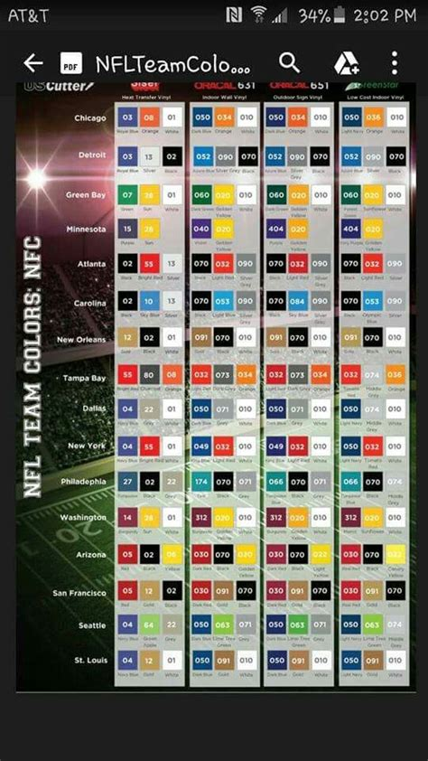 team colors nfl team color chart silhouette htv