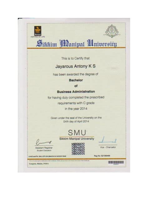 Sikkim Manipal Mba Certificate bba certificate sikkim manipal