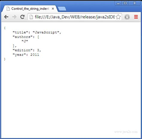tutorial javascript json control the string indention converting json to string