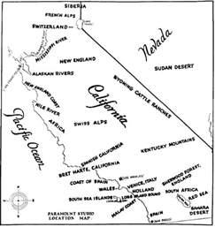 of california locations map paramount studio location map of california