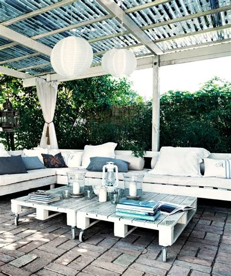 Patio Furniture On A Budget Outdoor Patio On A Budget Furniture Made Of Pallets Topped With Cushions Add Pillows And Some