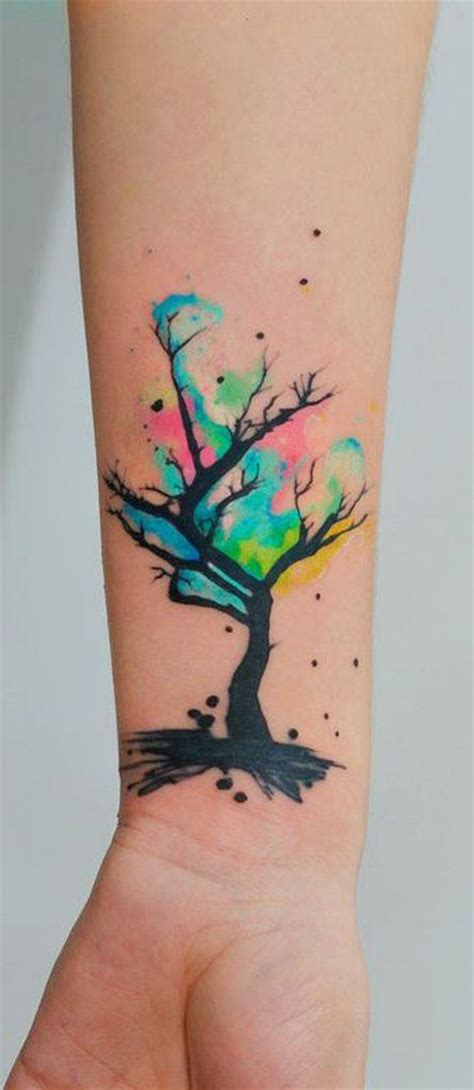 watercolor tree tattoo sleeve best 25 watercolor tree ideas on