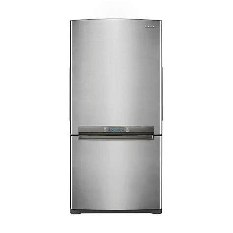 refrigerator with bottom freezer swing door samsung rb195acpn 18 cu ft bottom freezer w side swing freezer door stainless platinum