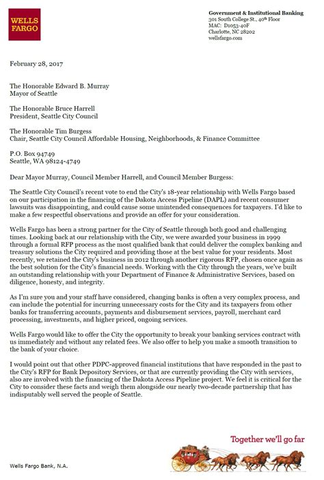 Fargo Bank Letter Of Credit Department Fargo Sends New Letter To City Offers To End