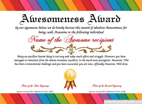 certificate of awesomeness template awesomeness template