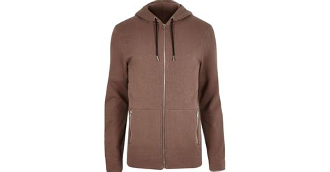 Hoodie Brown Line Pink river island brown zip up pocket hoodie in pink for lyst