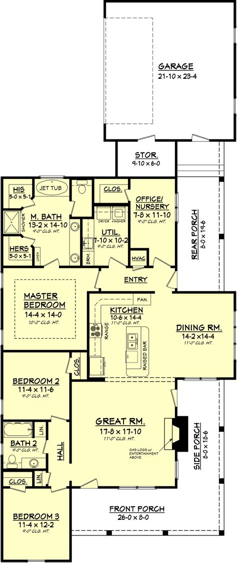 3 feet plan country style house plan 3 beds 2 baths 1900 sq ft plan