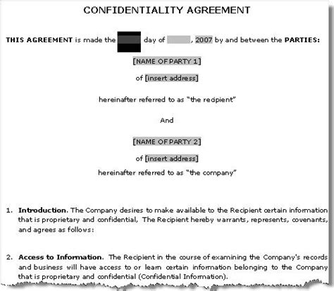 confidentiality non disclosure agreement template sle non disclosure agreement confidentiality