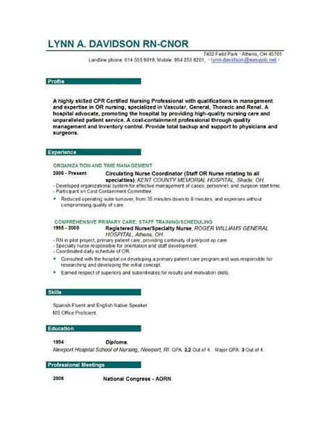 Free Nursing Resume by Nursing Resume Templates Easyjob Easyjob