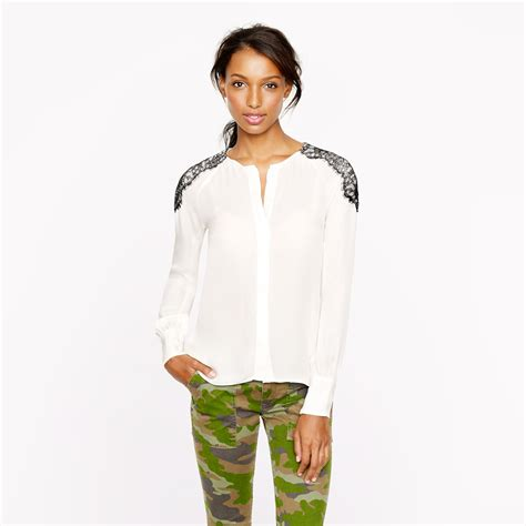 J 43519 Blouse Nancy 1 j crew collection silk shoulder lace blouse in white lyst
